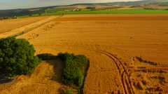 Aerial footage of a flight over fields Stock Footage