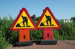 Roadwork traffic signs - stock photo