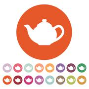 The teapot icon. Tea symbol. Flat - stock illustration