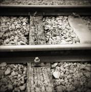 Closeup of two railway tracks - stock photo