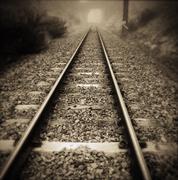 Stock Photo of Railway tracks vanishing into the distance