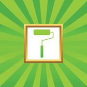 Paint roller picture icon - stock illustration