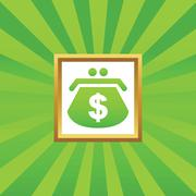 Dollar purse picture icon - stock illustration