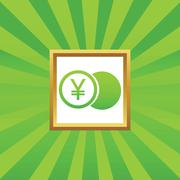 Yen coin picture icon Stock Illustration