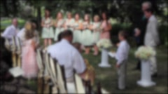 Flower girl and people at wedding reception Stock Footage