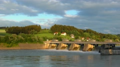 Spillway of the Passau-Ingling hydroelectric dam in Passau - stock footage
