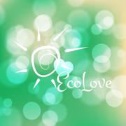 Stock blurred texture with bokeh effect and sun symbol. Eco-Style - stock illustration