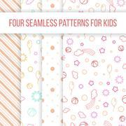 Set of vector seamless patterns for little girl - stock illustration
