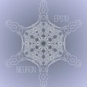 Vector background with the image of a neuron - stock illustration