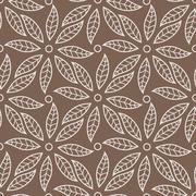 Vector seamless pattern with leaves and petals - stock illustration