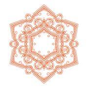 Vector monochrome flower mandala on a contrasting background. Big snowflake Stock Illustration