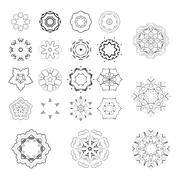 Set of vector monochrome flower mandala on a contrasting background. Snowflak Stock Illustration