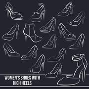 Set of women's shoes with high heels, painted lines Stock Illustration