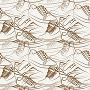 Vector seamless pattern of variety of men's shoes Stock Illustration