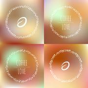Set of coffee vector framework of the vines with hearts and coffee beans - stock illustration