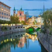 Romantic medieval Ljubljana, Slovenia, Europe. - stock photo