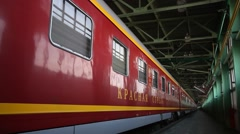Russia.Moscow - 2013: Red Arrow train - stock footage