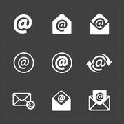 Vector E-mail icons on Dark Background. Stock Illustration