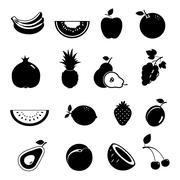 This is a vector illustration of Modern fruit vector icon set - stock illustration