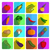 This is a vector illustration of Modern vegetable vector icon set Stock Illustration