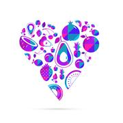 This is a vector illustration of Vector colorful  fruit heart. - stock illustration