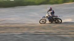 Dirtbike sunset drift Stock Footage