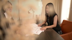 Two Businesswomen Meeting  In Modern Office. - stock footage