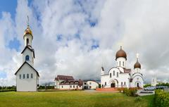 Pokrovo- Nicholas Church, belfry and pilgrimage hotel, Klaipeda, Lithuania - stock photo