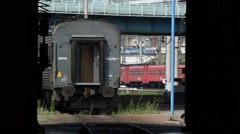 Russia.Moscow - 2013: Train arrives to depo Stock Footage