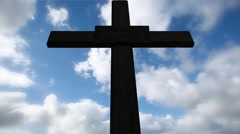 Cross with time lapse clouds,abstract religious backgrounds Stock Footage