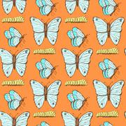 Sketch butterfly and caterpillar in vintage style Stock Illustration