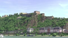 Ehrenbreitstein Fortress is situated across the river Rhine Stock Footage