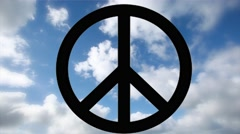 peace sign and time lapse clouds - stock footage