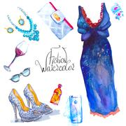 Set of trendy look, watercolor Stock Illustration