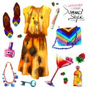 set of trendy look, watercolor - stock illustration
