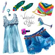 Set of trendy look, watercolor Stock Illustration
