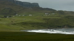 Static view of Staffin bay on the Isle of Skye, Scotland Stock Footage