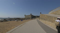 View of Fort of São Francisco Xavier from the sidewalk, Porto Stock Footage