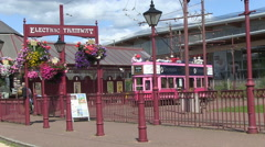 Seaton Historic Electric Tramway in Devon Stock Footage