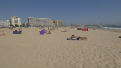 Tourists tanning on the beach, Porto Stock Footage
