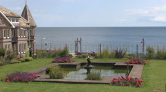 Water Fountain in Sea Hill Road Park in Seaton Town Devon Stock Footage