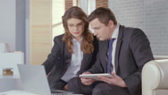 Stock Video Footage of Woman notary public lawyer working with client, expensive office
