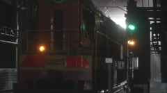 Russia.Moscow - 2013: Train leaving the Depo Stock Footage