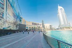Dubai - AUGUST 7, 2014: Dubal Mall shopping mall on August 7 in Dubai, UAE Stock Photos