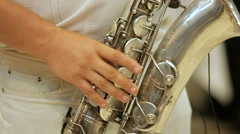 Saxophonist And His Instrument Stock Footage