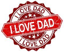 I love dad red round grunge stamp on white Stock Illustration