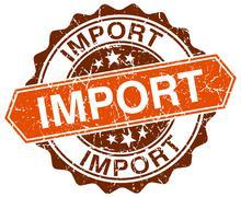 import orange round grunge stamp on white - stock illustration