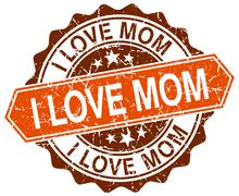 i love mom orange round grunge stamp on white - stock illustration