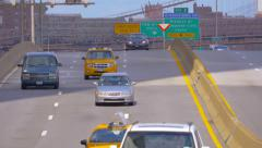 Street traffic on FDR Drive parkway in New York City Downtown - stock footage