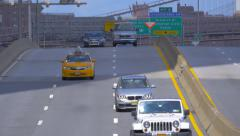 Cars on Franklin D. Roosevelt East River Drive expressway, Manhattan, NYC Stock Footage